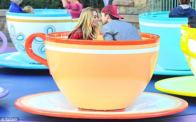 Tea for two: Lauren Conrad shares an intimate moment at Disneyland with fiancé William Tell on Monday