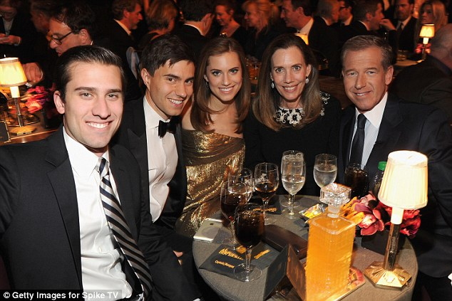 It seems the couple, pictured with Williams' brother Douglas (left) and parents Jane and Brian (right), are hoping to embark on a new chapter after the controversies of last year. They postponed their wedding in February this year as Brian Williams faced accusations of false reported and was suspended from NBC