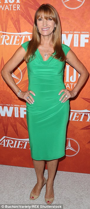 Great in green: Veteran actress Jane Seymour showed off her age-defying figure in a clingy green gown