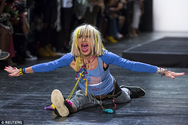 Splits: Designer Betsey Johnson does the splits at the end of her Spring/Summer 2016 collection presentation