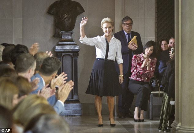 Fricking awesome: Carolina Herrera waves after showing her Spring 2016 collection at The Frick Collection during Fashion Week in New York. The Frick Collection is an art museum located on the Upper East Side of NY