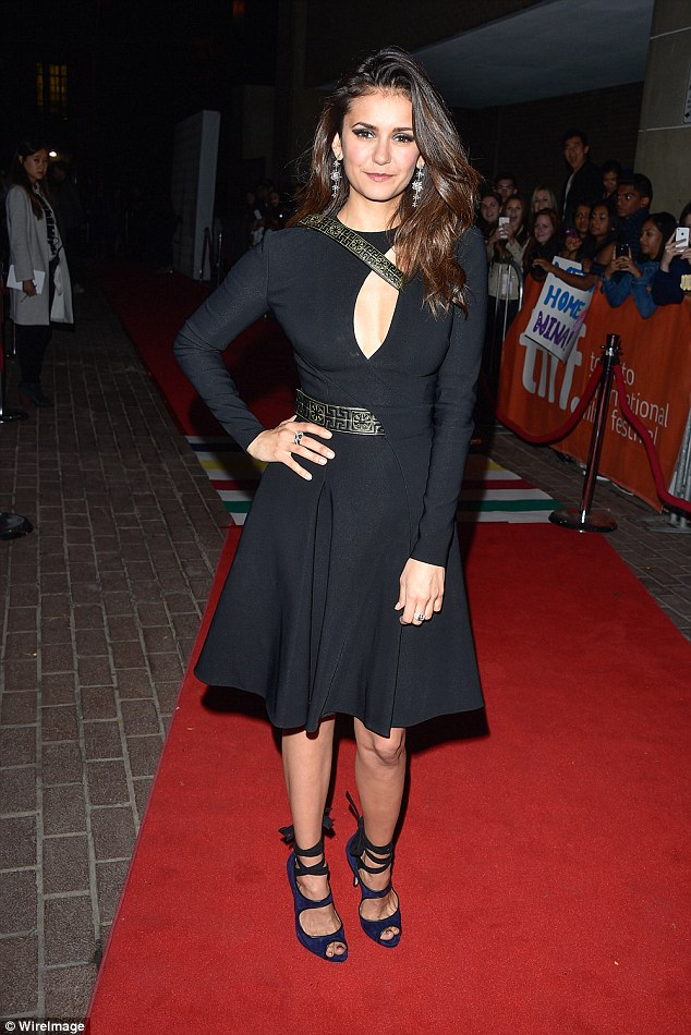 Vamping it up: Nina Dobrev walked the red carpet at the premiere of her latest flick The Final Girls at The Toronto International Film Festival on Saturday night
