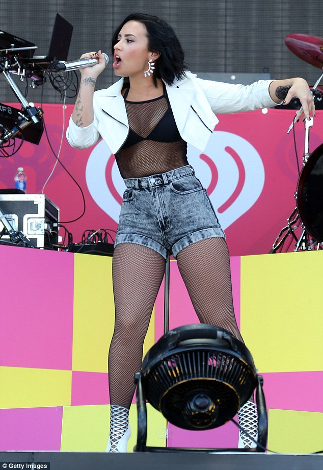 Star on the stage: Demi Lovato performed Saturday at the iHeartRadio Music Festival Daytime Village in Las Vegas, Nevada