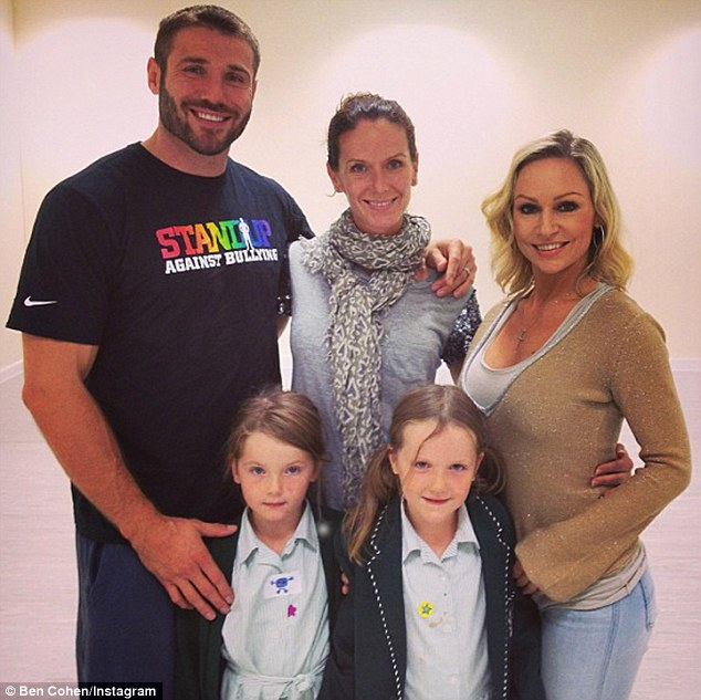 Heartbreak: Ben's wife of 12 years Abby Blayney described his betrayal as 'the most traumatic thing to ever happen to me'. Here she is pictured with her former husband, their seven-year-old twin daughters and Kristina in 2013