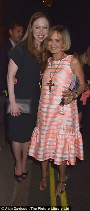 Working the room: The former First Daughter poses withCountess Maya Von Schoenburg