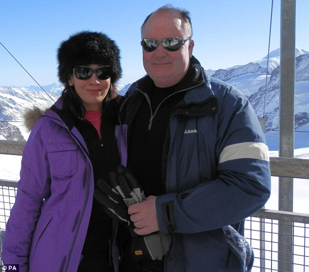 Ordeal: Richard Barnfather and his fiancee Deborah Leadbetter on holiday in Switzerland before McDonald and his accomplices raided their home