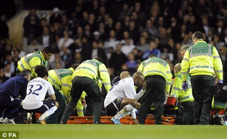 Horror: Muamba collapsed after suffering a cardiac arrest at White Hart Lane