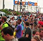 Fleeing: Fans evacuate Grant Park after receiving a warning of severe storms over Chicago