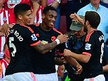 SOUTHAMPTON, ENGLAND - SEPTEMBER 20:  Anthony Martial of Manchester United (C) celebrates scoring the opening goal with Marcos Rojo and Juan Mata of Manchester United during the Barclays Premier League match between Southampton and Manchester United at St Mary's Stadium on September 20, 2015 in Southampton, United Kingdom.  (Photo by Alex Broadway/Getty Images)
