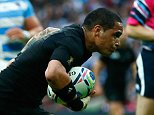LONDON, ENGLAND - SEPTEMBER 20: Aaron Smith of the New Zealand All Blacks goes over to score his try during the 2015 Rugby World Cup Pool C match between New Zealand and Argentina at Wembley Stadium on September 20, 2015 in London, United Kingdom.  (Photo by Mike Hewitt/Getty Images)