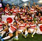 Japan celebrate victory over South Africa during the Rugby World Cup match at the Brighton Community Stadium, Brighton. PRESS ASSOCIATION Photo. Picture date: Saturday September 19, 2015. See PA story RUGBYU South Africa. Photo credit should read: Gareth Fuller/PA Wire. RESTRICTIONS: Editorial use only. Strictly no commercial use or association without RWCL permission. Still image use only. Use implies acceptance of Section 6 of RWC 2015 T&Cs at: http://bit.ly/1MPElTL Call +44 (0)1158 447447 for further info.