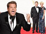 LOS ANGELES, CA - SEPTEMBER 20:  TV personality James Corden (L) and producer Julia Carey attend the 67th Annual Primetime Emmy Awards at Microsoft Theater on September 20, 2015 in Los Angeles, California.  (Photo by John Shearer/WireImage)