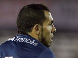 Carlos Tevez of Boca Juniors reacts during an Argentine soccer league match against River Plate in Buenos Aires, Argentina,  Sunday, Sept. 13, 2015. (AP Photo/Victor R. Caivano)