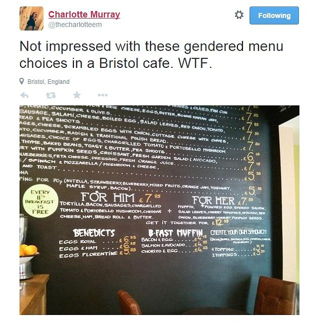 Charlotte Martin captioned her tweet: Not impressed with these gendered menu choices in a Bristol cafe. WTF