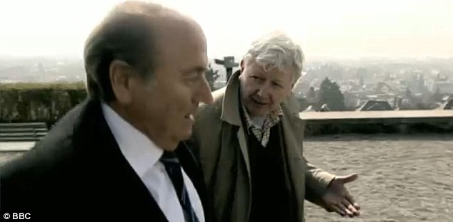 Allegations: Reporter Andrew Jennings questions Fifa president Sepp Blatter in the Panorama programme screened last night