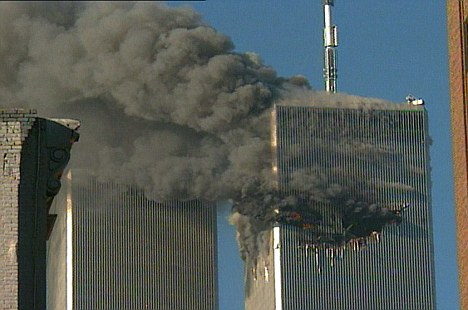 Attacks: One of the two planes flying in to one of the two Twin Towers on September 11, 2001