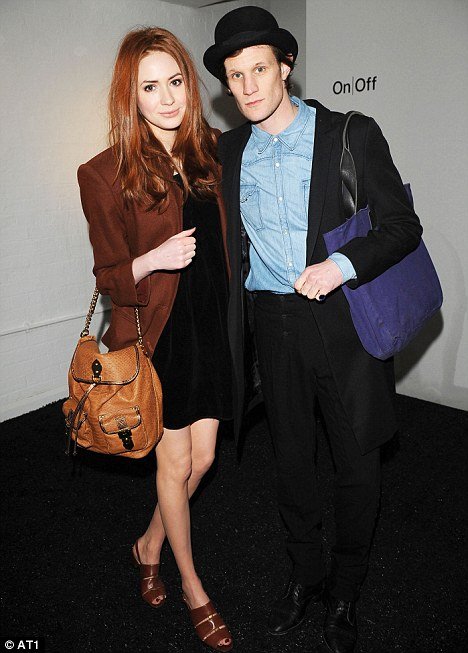 Leading lady: Dr Who co-stars Matt Smith and Karen Gillan arrive for the Pam Hogg catwalk show at London Fashion Week last night