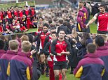 The Japanese Rugby team that beat South Africa on Saturday got a heroes welcome at their last training session when they were given a guard of honour by 1,200 students at Brighton College, Sussex this morning where they have trained since the start of the tournament ***Pic by David McHugh 07768 721637***