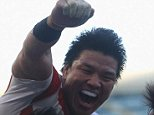 BRIGHTON, ENGLAND - SEPTEMBER 19:  Ayumu Goromaru of Japan celebrates scoring his team's second try during the 2015 Rugby World Cup Pool B match between South Africa and Japan at the Brighton Community Stadium on September 19, 2015 in Brighton, United Kingdom.  (Photo by Charlie Crowhurst/Getty Images)