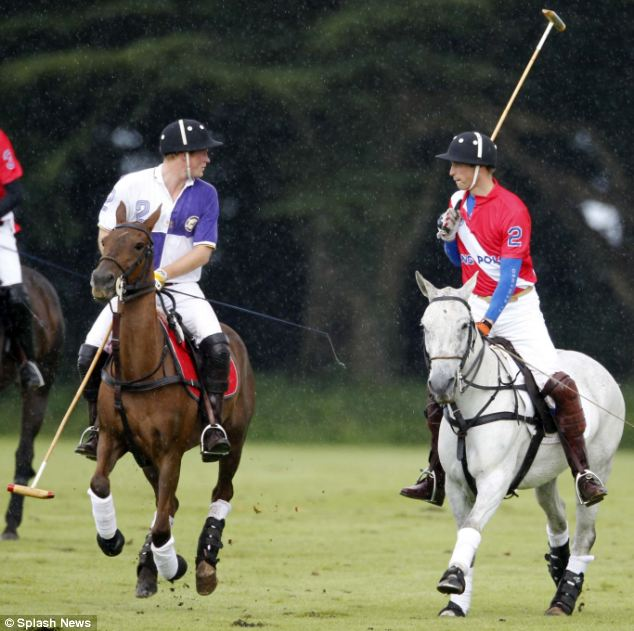 The brothers took part in the polo game to raise money for three children's charities close to heir hearts