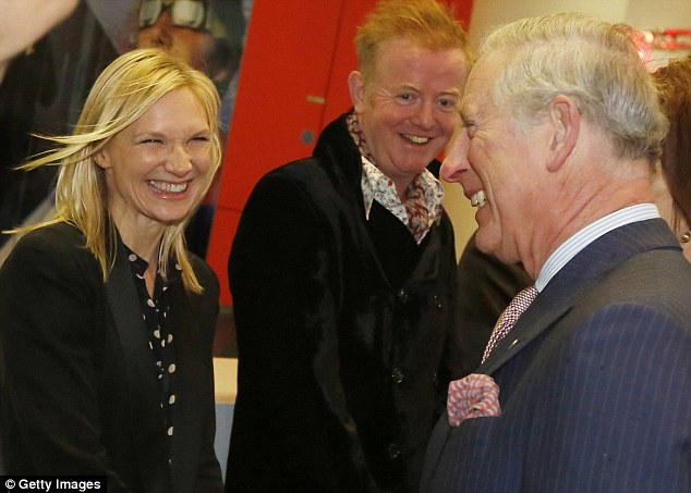 DJs Jo Whiley, left, and Chris Evans, right, looked delighted to be presented to their Royal guest at the BBC today