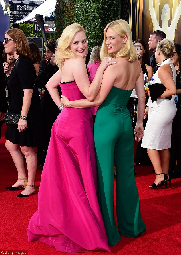 Back together: Elisabeth Moss (L), also from Mad Men, joined Jones for some fun
