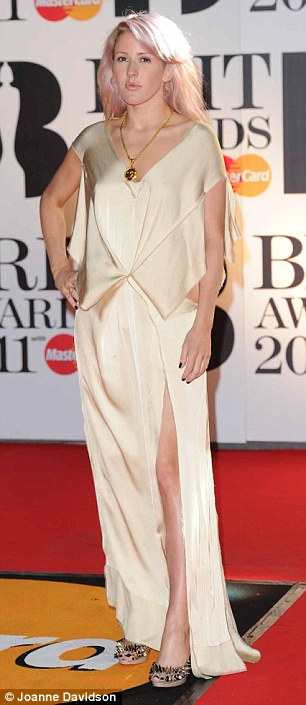 Off-white on the night: Former Pussycat Doll Kimberly Wyatt and singer Ellie Goulding went for ivory and cream