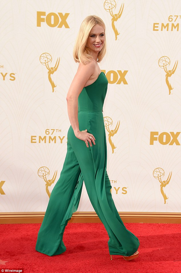 With a bit of shine: The leggy actress also had on gold shoes that looked to be platforms