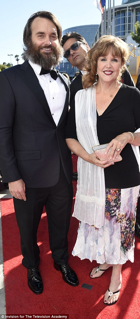 Family focused: Will Forte - star of Last Man On Earth - took along his motherPatricia C. Forte while TV host James Corden brought wifeJulia Carey