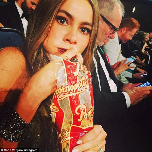 Contraband: According to an Instagram photo Sofia posted from the event, she had to sneak her popcorn snack into the theatre