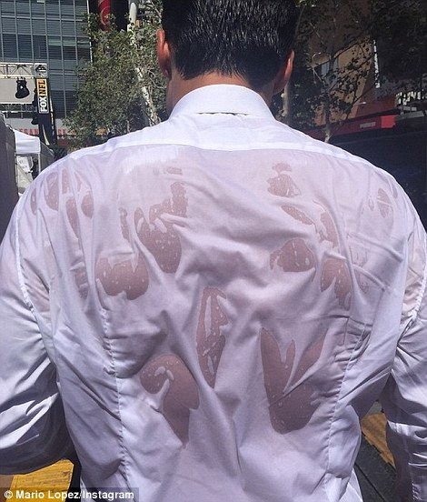Hot stuff: Extra host Mario Lopez showed his fans his sweaty shirt during the event where temperatures exceeded 100f