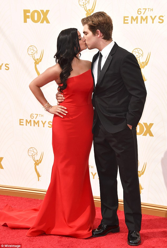 Sealed with a kiss: Winter put a smooch on Laurent Claude Gaudette when she hit the awards show