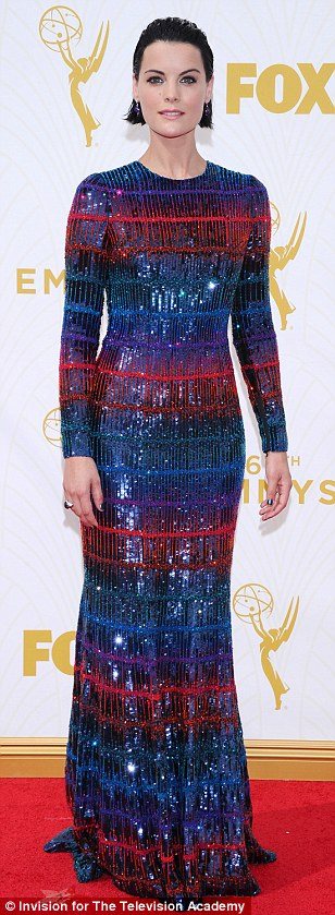 Red and blue: ActressesLauren Lapkus, Jaimie Alexander and TV host Debbie Matenopoulos braved the heat in jewel tone gowns
