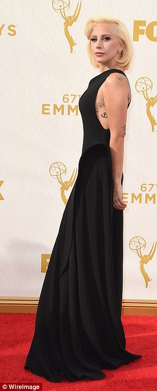 Low-key: American Horror star Lady Gaga wore a demure black for a change of pace