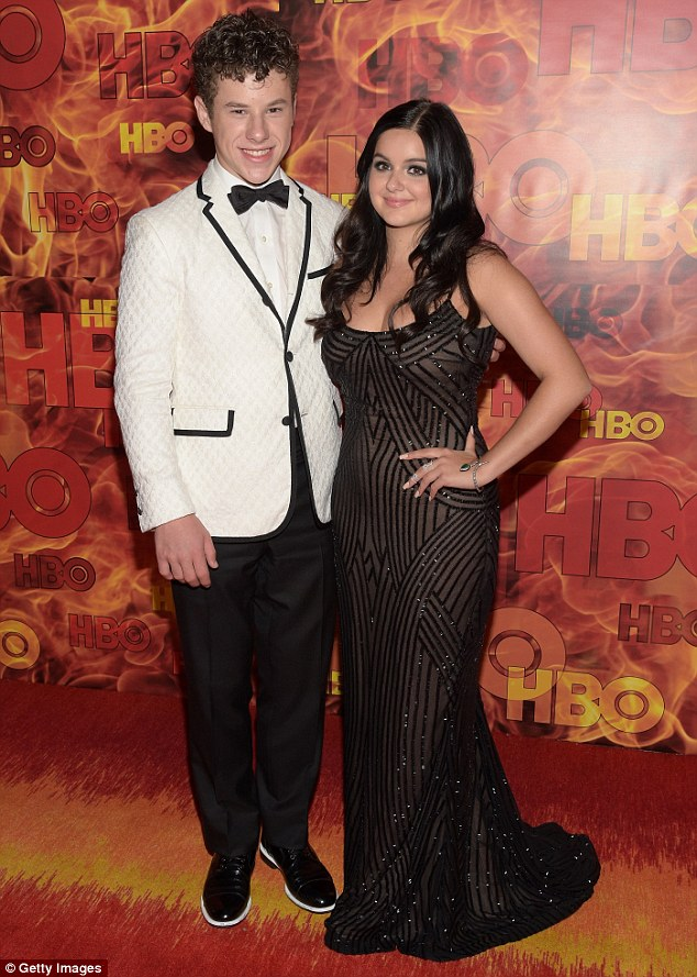 Sibling smiles: The young actress was happy to pose for a picture with her on-screen brother Nolan Gould at the party