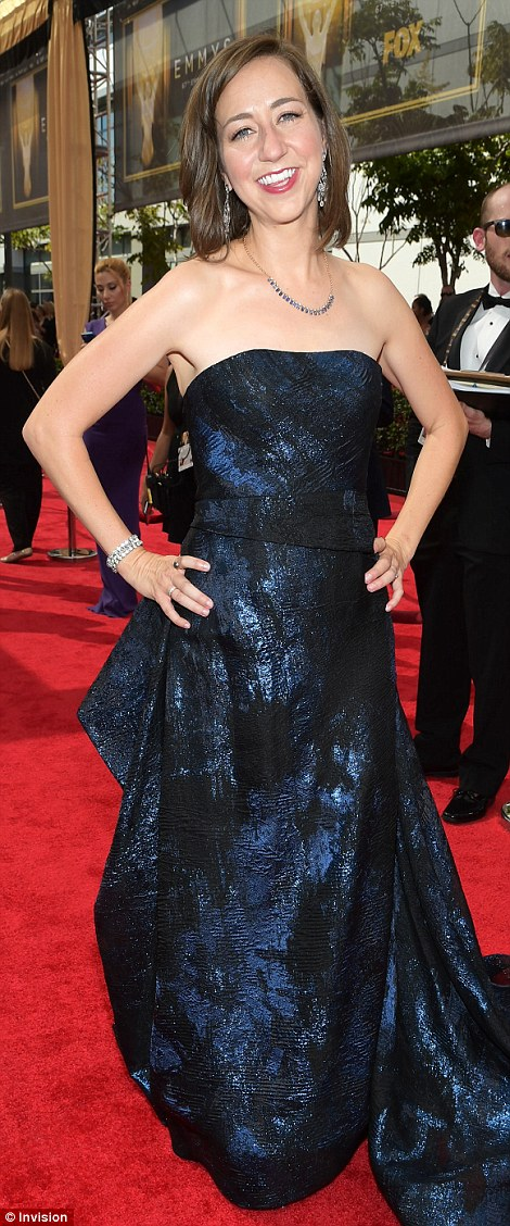 Strapless style: Last Man On Earth star Kristen Schaal shimmered in midnight blue