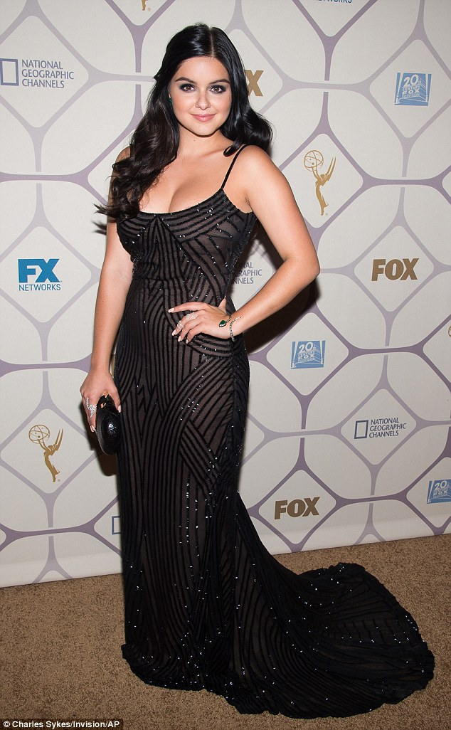Party hopping: The actress also hit the FOX after party, making sure her stunning, glittering gown drew all eyes to her