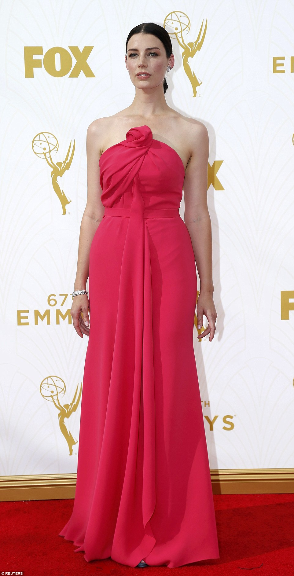 Alabaster beauty: The actress put on an understated display of glamour and chic in her pink strapless gown