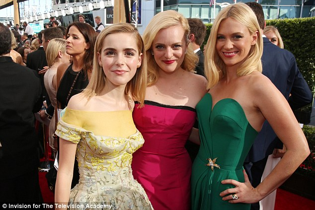 Co-stars: Elisabeth was joined on the red carpet by her Mad Men co-stars January Jones (right) and Kiernan Shipka (left)