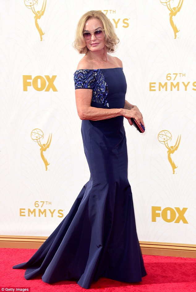 Beauty in blue:Jessica Lange still looks like a silver screen knockout. On Sunday evening the American Horror Story standout showed off her curves in a sat blue dress while at the Emmy Awards