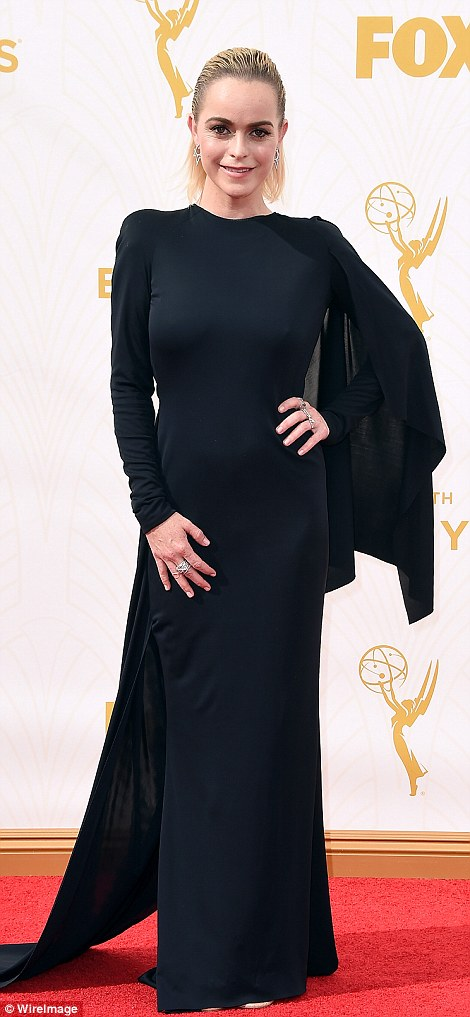 Runway style: OITNB starsTaryn Manning andYael Stone opted for structured garments in monochrome