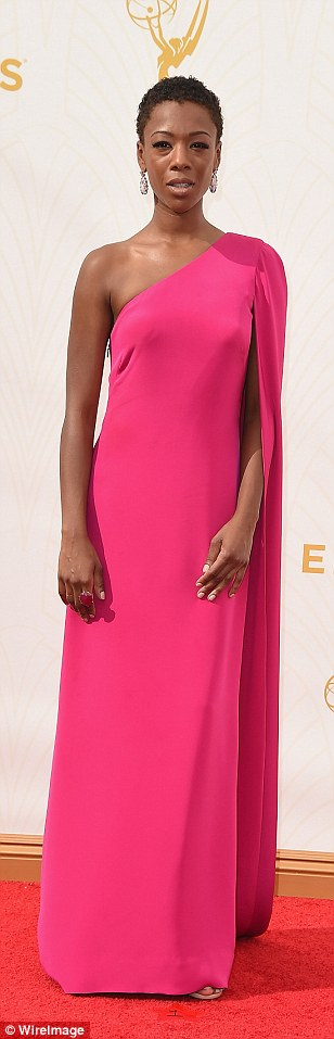 Rainbow bright: Mad Men's January Jones and OITNB's Samira Wiley andTaylor Schilling added some colour to the awards ceremony