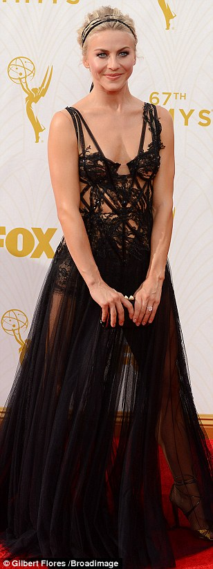 Stunning: Julianne Hough brought some gothic glam to proceedings in a lace gown with sheer skirt
