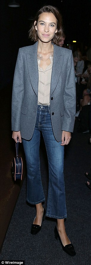 Stylish look: Alexa Chung, 31, didn't disappointed with her choice of attire as she attended the Erdem show during London Fashion Week on Monday