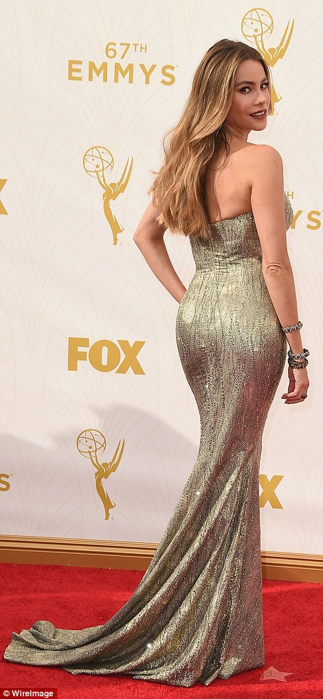Colombian confidence: The 43-year-old Modern Family star oozed glamour in the glittering dress which accentuated her curves
