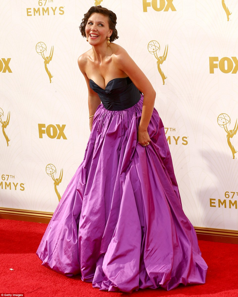 Belle of the ball: Maggie Gyllenhaal wore a fairytale style gown that emphasized her flawless skin and toned figure