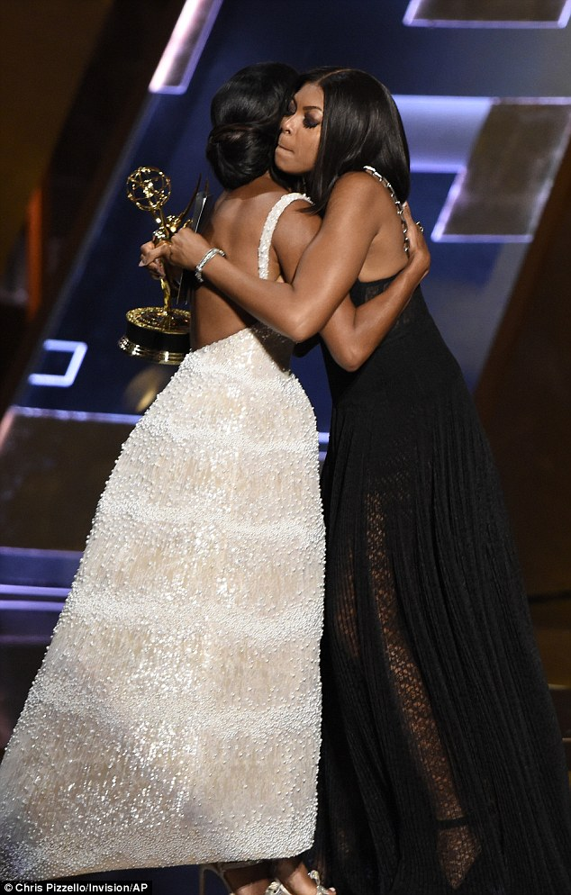 Support: Taraji P. Henson gave her pal a big hug as she presented the award