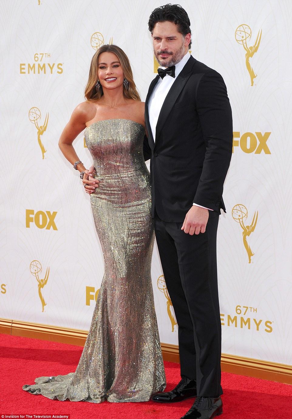 Wow factor: Sofia was accompanied by her handsome fiance Joe Manganiello