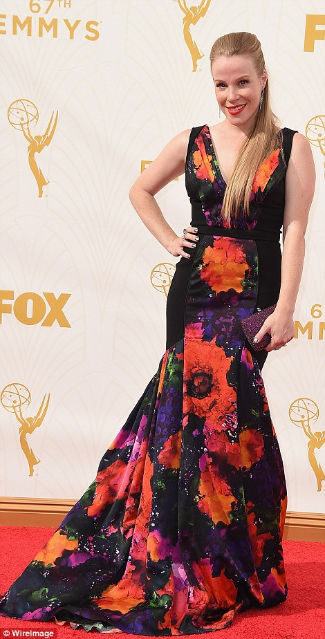 Glorious gowns: Silicon Valley actressesAmanda Crew and Suzanne Cryer were a gorgeous duo while OITNB starEmma Myles was vibrant in splashes of floral