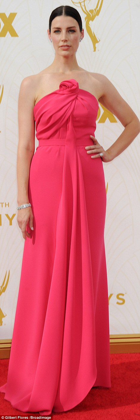 So chic: Mad Men beauty Jessica Pare stunned in hot pink